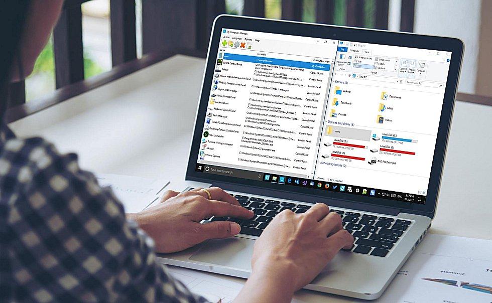 My Computer Manager - utilisation des panneaux Windows