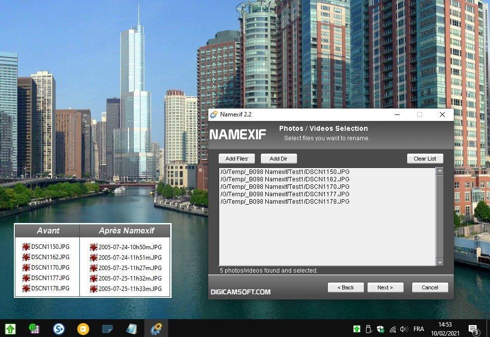 Namexif - Fichiers photos, inclure la date de prise de vue