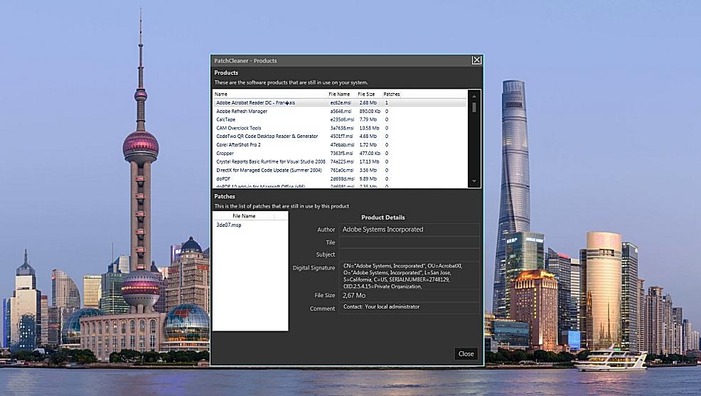 PatchCleaner - nettoyeur de fichiers MSI et MSP
