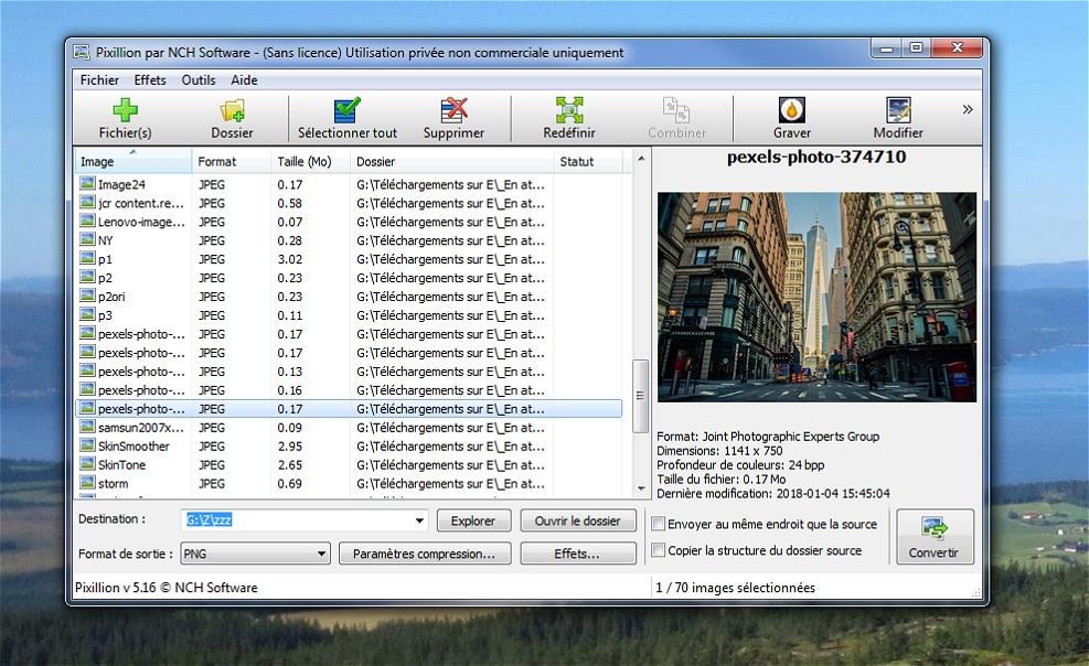 Pixillion - Convertisseur d'images par lots