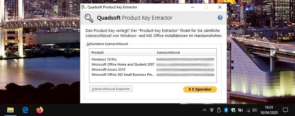 Product Key Extractor  - liste vos clés de licence Windows