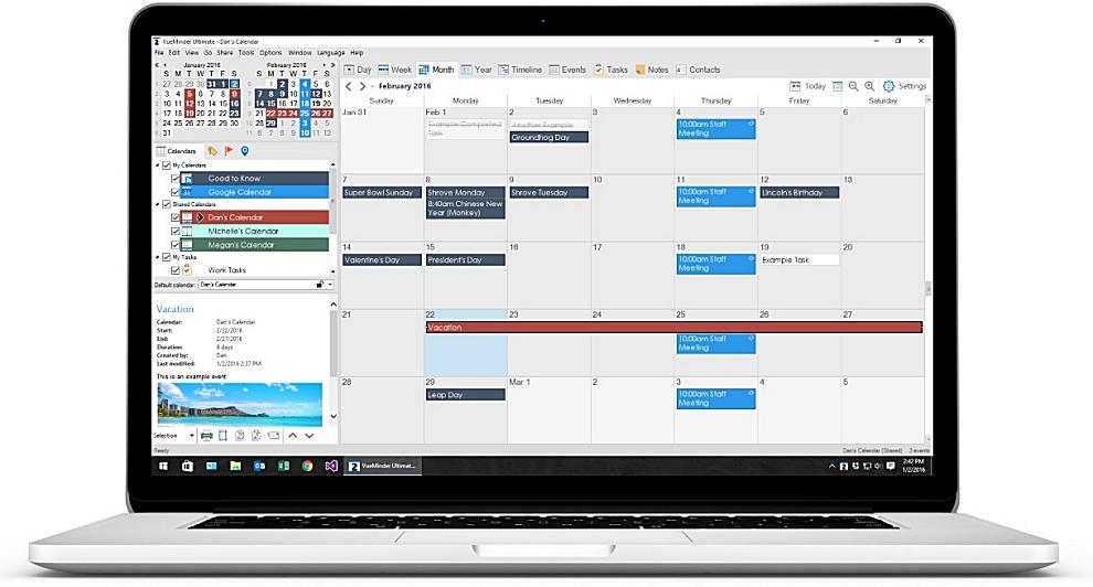 VueMinder Lite USB - programme de calendrier
