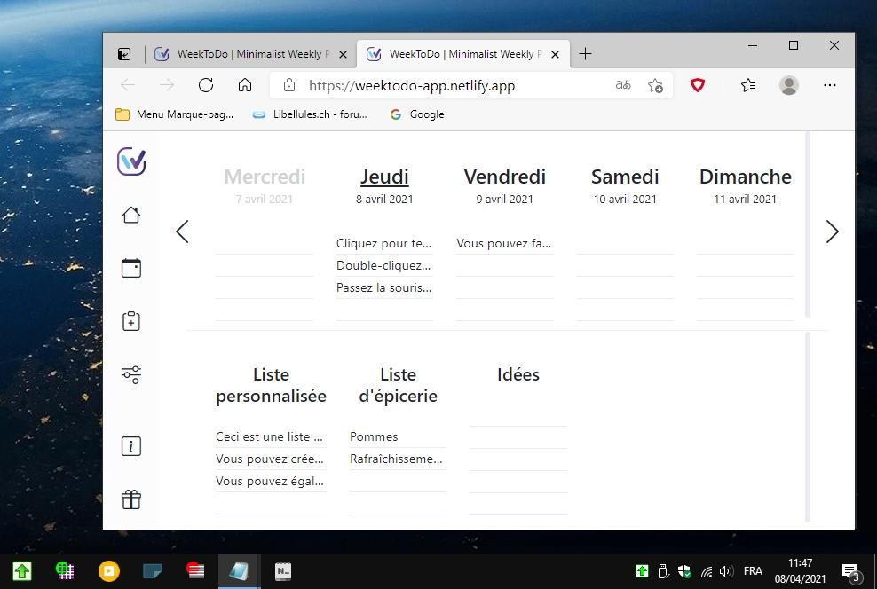 WeekToDo - agenda hebdomadaire minimaliste pour Windows 10