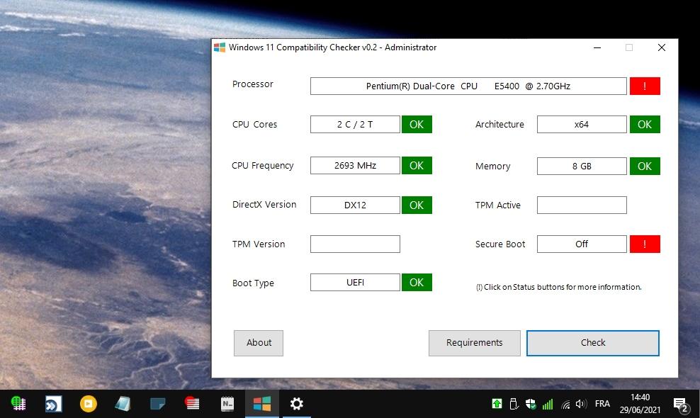 Windows 11 Compatibility Checker  /> test de compatibilité W11