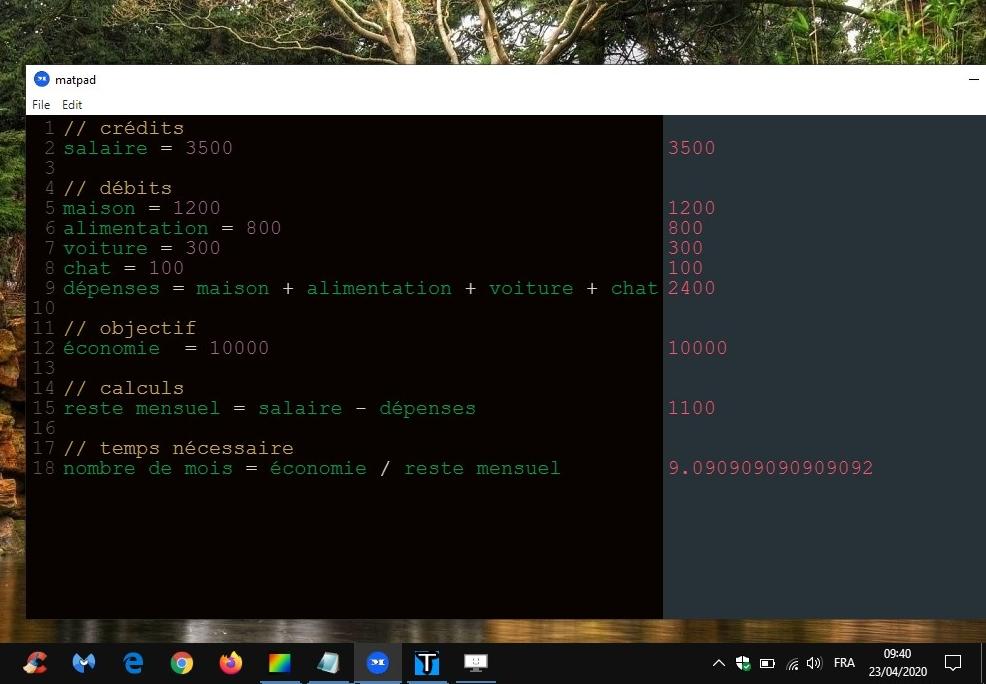 matpad - bloc-notes interactif doté de calculs simples