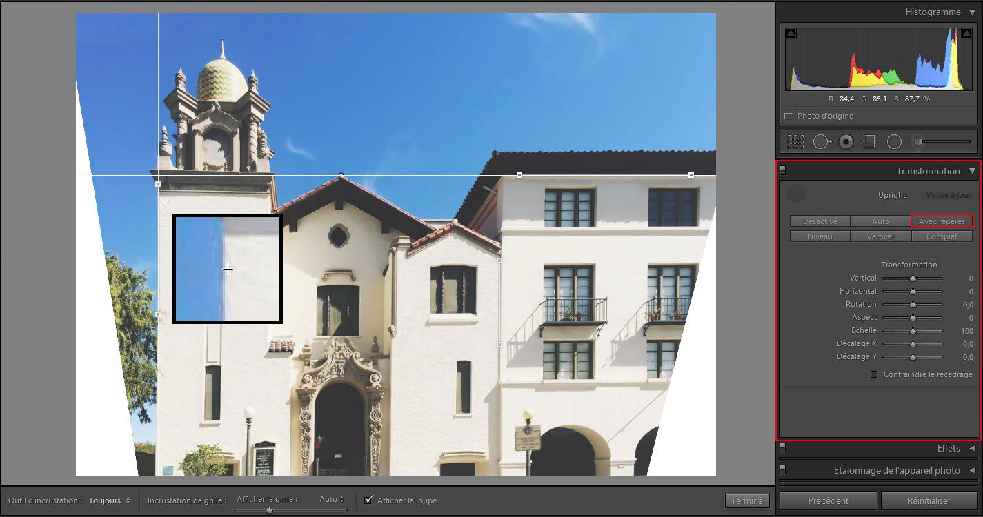 Lightroom - Corriger la distorsion de la perspective des photos - Upright avec repères