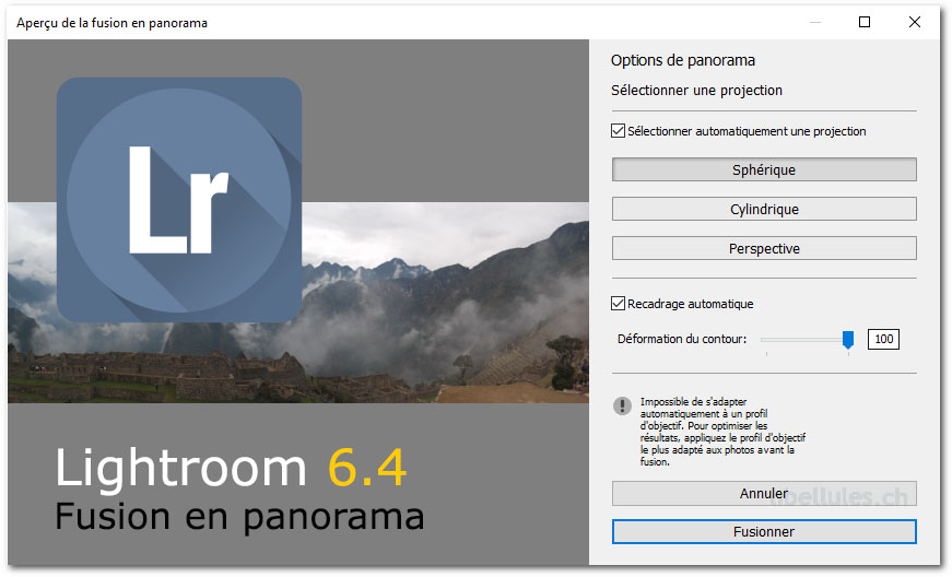 Panorama et Lightroom 6.4