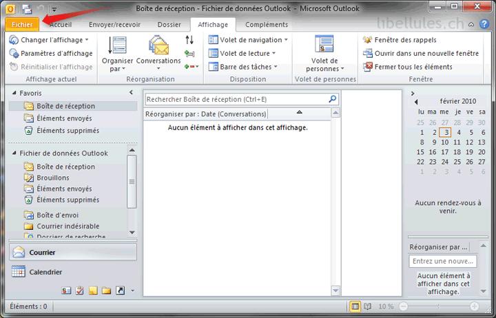 Outlook 2010 - Installer un compte e-mail