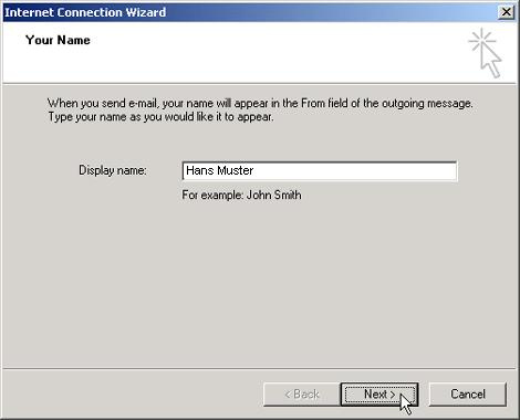 in the e mail address field enter your full e mail address in our example hansmusterbluewinch - E Mail Muster