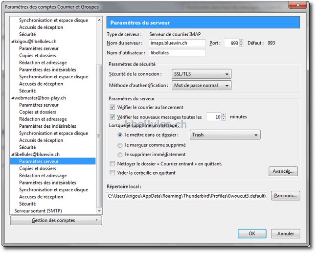 Thunderbird 3.1 - Ajout d'un compte de messagerie